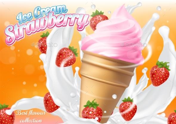 Ice Cream Strawberry Cone Dessert Vector - Food Objects