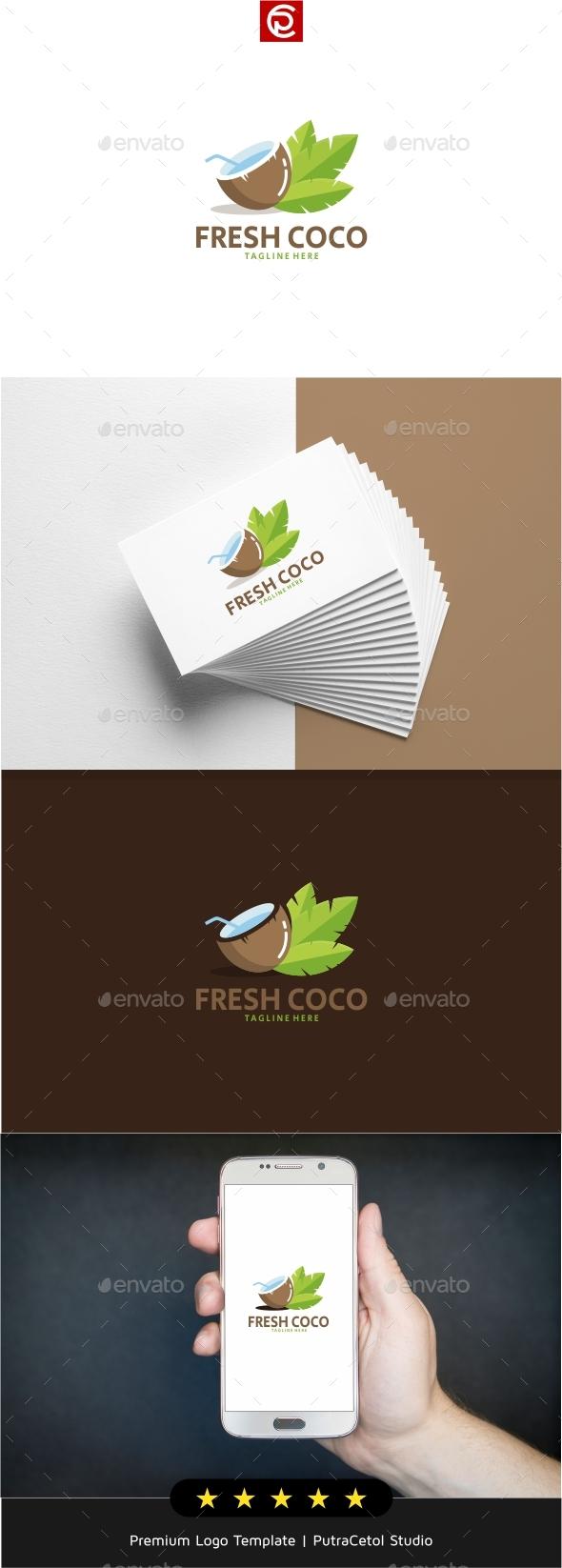 Fresh Coco Water Logo - Food Logo Templates