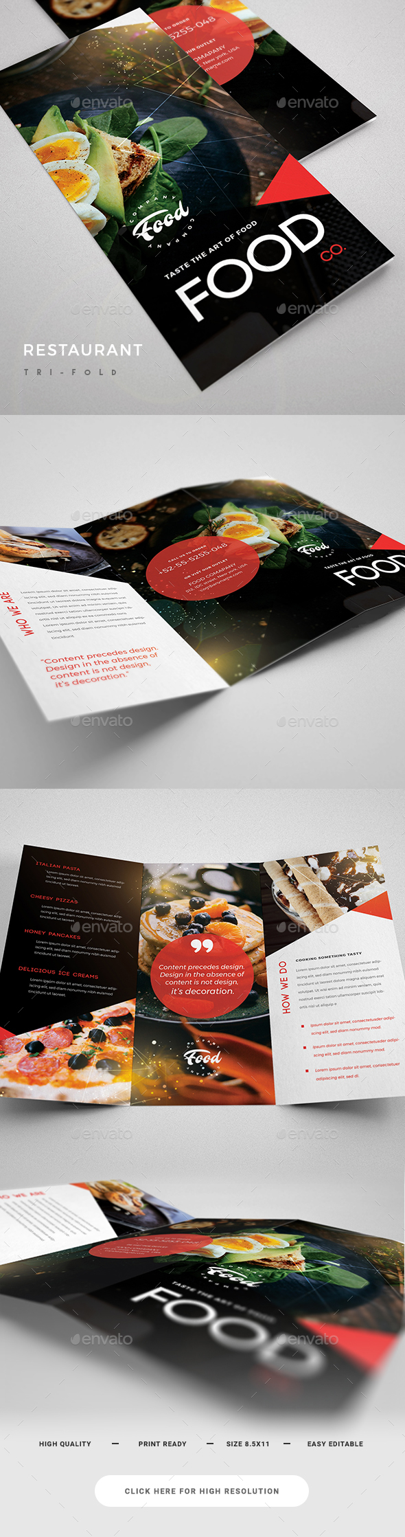 Restaurant Trifold - Brochures Print Templates