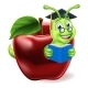 Book Worm Cartoon Character