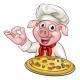 Pig Pizza Chef Cartoon Character
