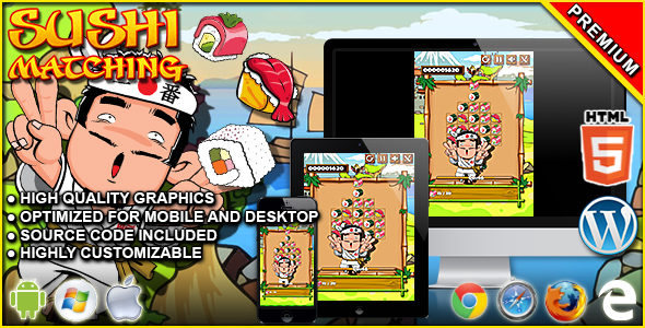 Sushi Matching - HTML5 Matching Game            Nulled