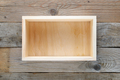Empty wooden box on wooden background top view - PhotoDune Item for Sale