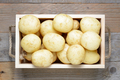 Potatoes in wooden box close-up - PhotoDune Item for Sale