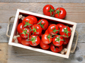 Tomatoes in wooden box top view - PhotoDune Item for Sale