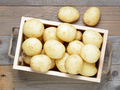 Potatoes in wooden box top view - PhotoDune Item for Sale