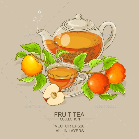 Cup of Apple Tea and Teapot - Food Objects