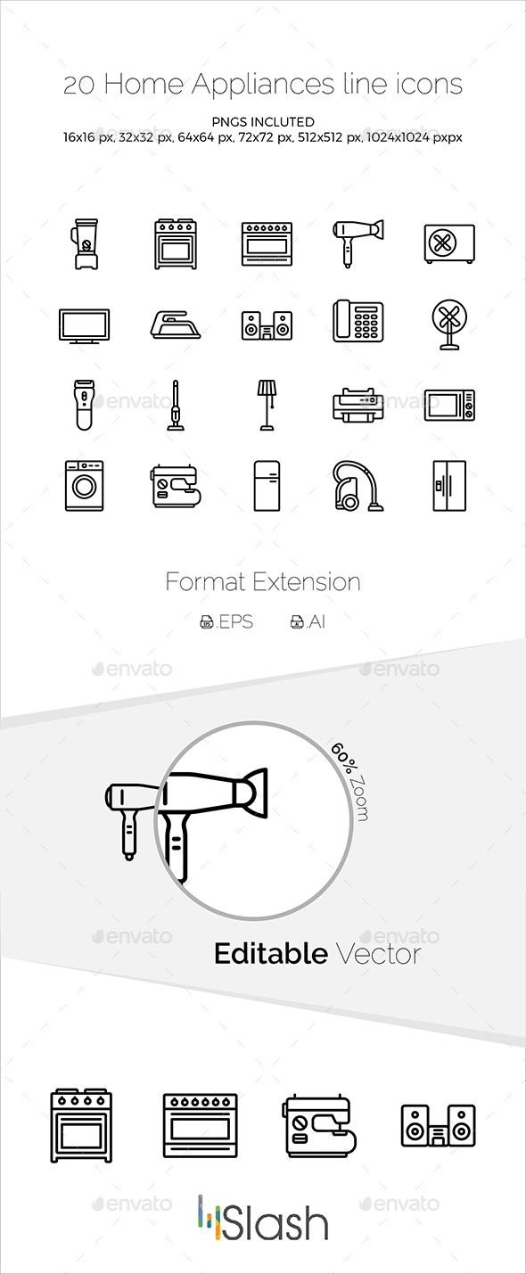 Home Appliances line icons - Icons