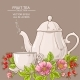 Cup of Dog Rose Tea and Teapot