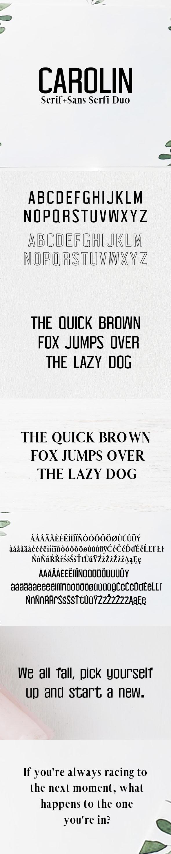 Carolin Duo 5 Font Family Pack - Serif Fonts