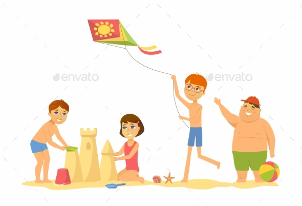 Children on the Beach - People Characters