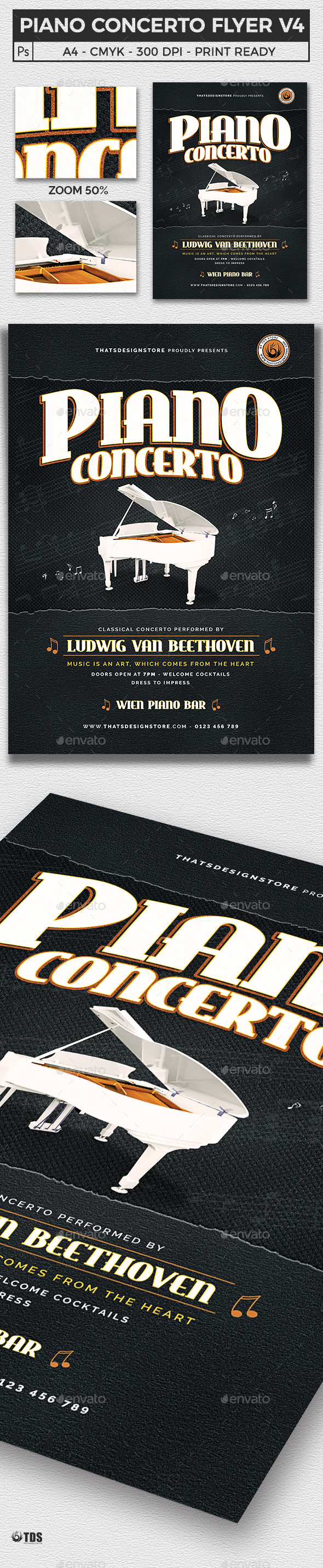Piano Concerto Flyer Template V4 - Concerts Events