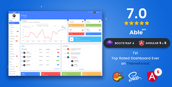 Image of Able pro 7.0 Responsive Bootstrap 4 Admin Template + Angular 6, 5 & 4