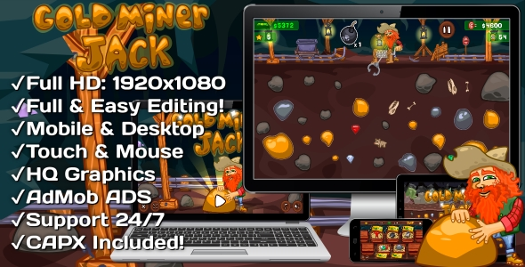 Gold Miner Jack - HTML5 Game 20 Levels + Mobile Version! (Construct-2 CAPX)            Nulled