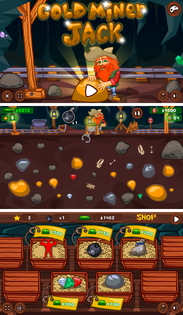 Gold Miner Jack - HTML5 Game 20 Levels + Mobile Version! (Construct 3 | Construct 2 | Capx) Download