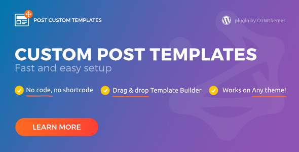 post custom templates pro wordpress plugin by otwthemes codecanyon. Black Bedroom Furniture Sets. Home Design Ideas