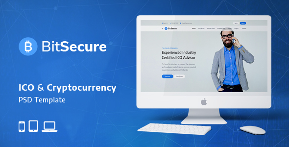 BitSecure - ICO & Cryptocurrency PSD Template - Marketing Corporate