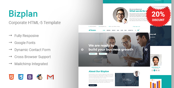 Image of Bizplan - Corporate & Business HTML5 Responsive Template