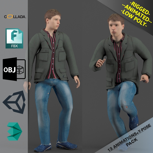Young Man1 Animated Pack - 3DOcean Item for Sale