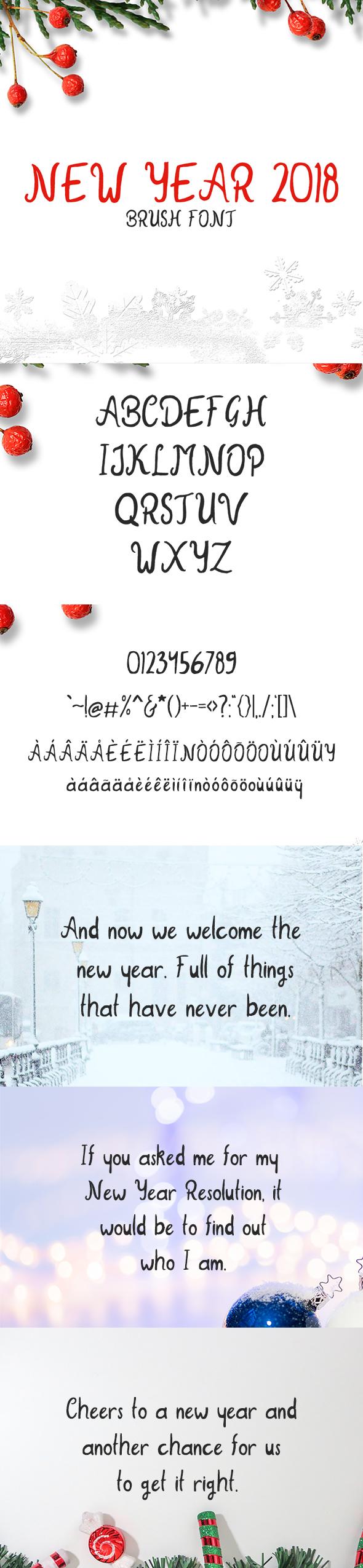 New Year 2018 Brush Font - Hand-writing Script