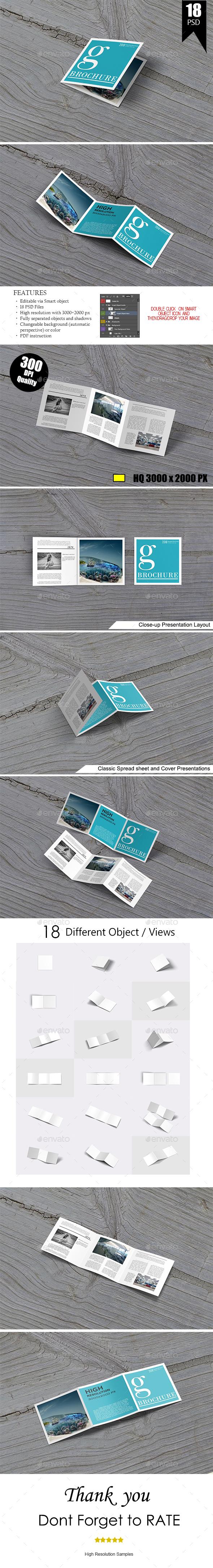 Square Trifold Mock-Up - Brochures Print