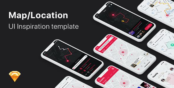 Mappy - Map UI Kit for Mobile App - Sketch Templates