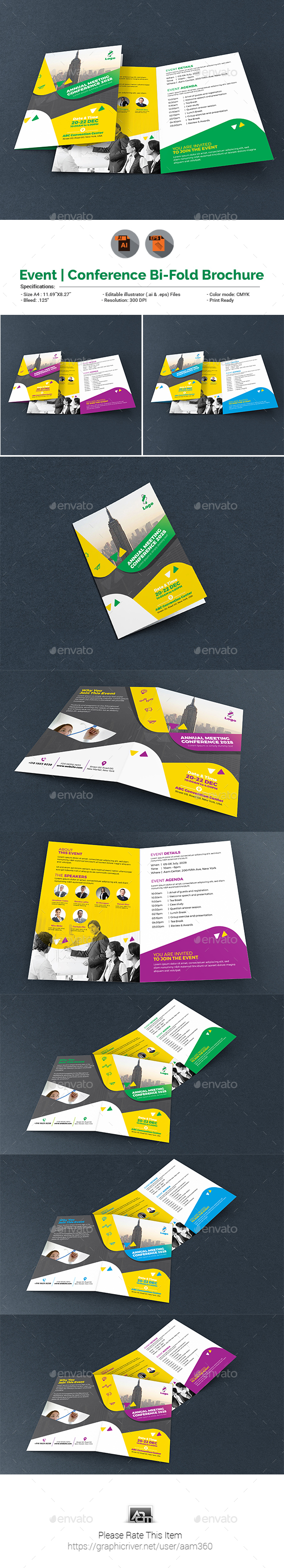 Event/Summit/Conference Bifold Brochure - Brochures Print Templates