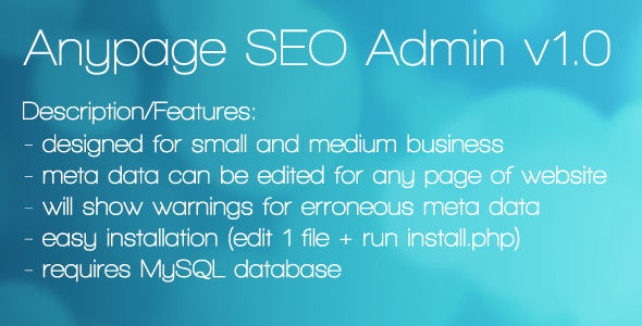Anypage SEO Admin - CodeCanyon Item for Sale