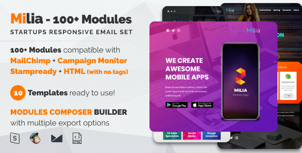 Milia 100 - Responsive Email with Mailchimp Editor, StampReady & Online Builder