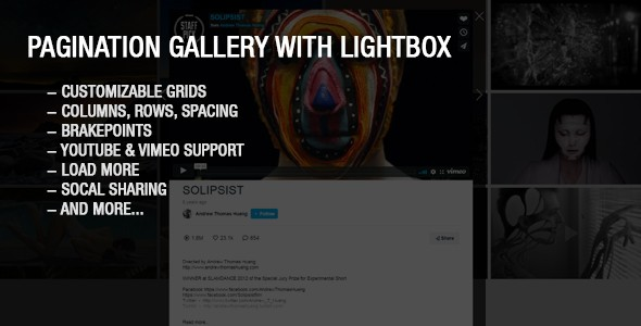 Youtube & Vimeo Pagination gallery with Lightbox - CodeCanyon Item for Sale