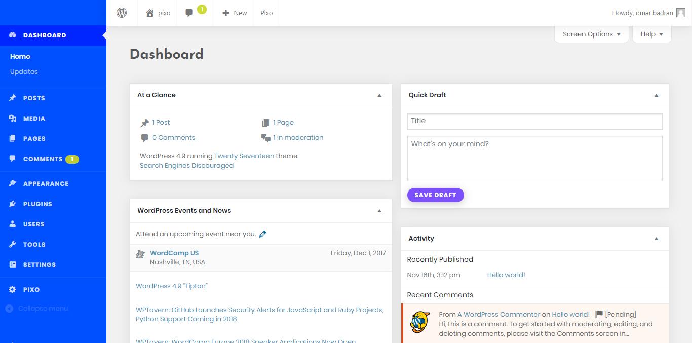 WordPress Admin Theme - Pixo
