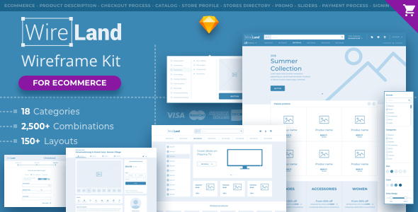 Wireland for Ecommerce - Massive Wireframe Library Collection - Sketch Templates
