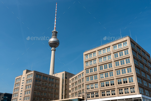 The famous Television Tower and some buildings from GDR times - Stock Photo - Images