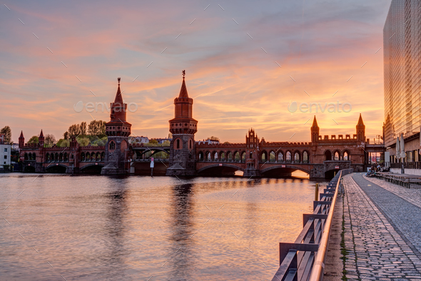 Sunset at the beautiful Oberbaumbridge - Stock Photo - Images