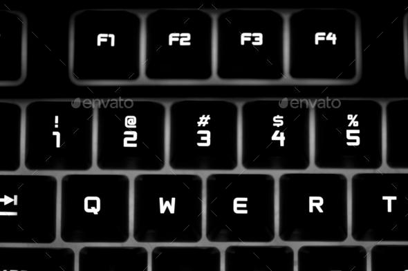 Closeup of a black computer keyboard - Stock Photo - Images