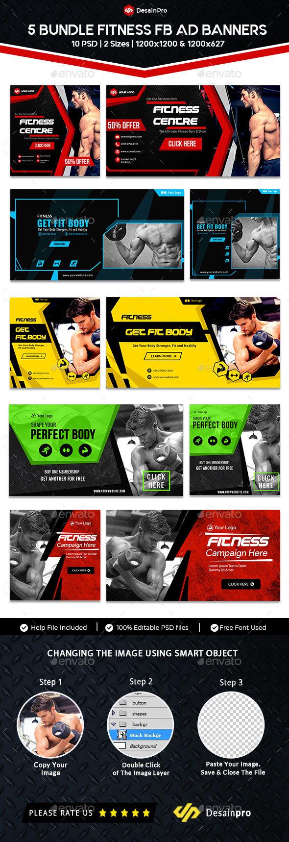 Gym & Fitness FB Ad Banner Bundle - 5 Sets - 10 PSD - AR