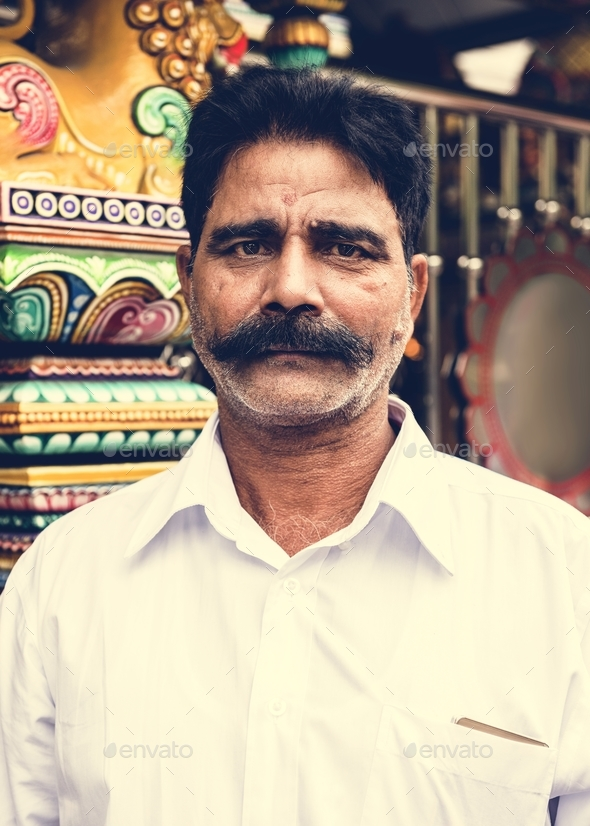 Indian man portrait at the temple - Stock Photo - Images