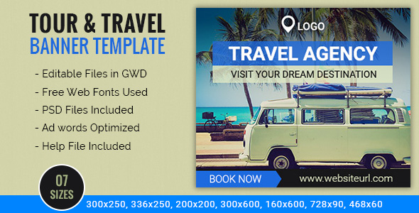 Travel Agency | Tour Booking Ad Banners - 7 Sizes            Nulled