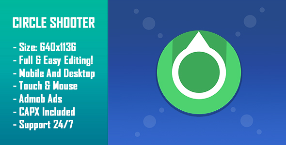 Circle Shooter - HTML5 Game + Mobile Version! (Construct 2 / Construct 3 / CAPX)            Nulled