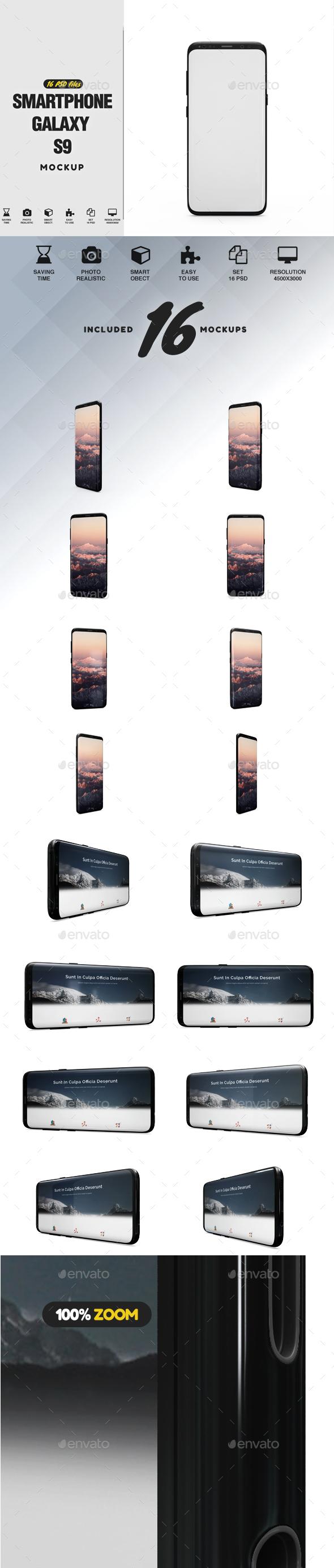 SmartPhone Galaxy S9 App Mockup - Mobile Displays
