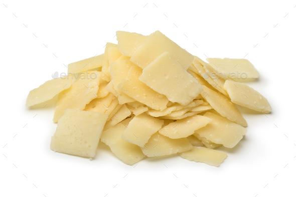 Heap of Parmigiana reggiano cheese flakes - Stock Photo - Images