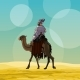 Cartoon Man Riding a Camel in the Desert - GraphicRiver Item for Sale