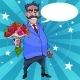 Cartoon Man with a Mustache Wishes with Flowers - GraphicRiver Item for Sale