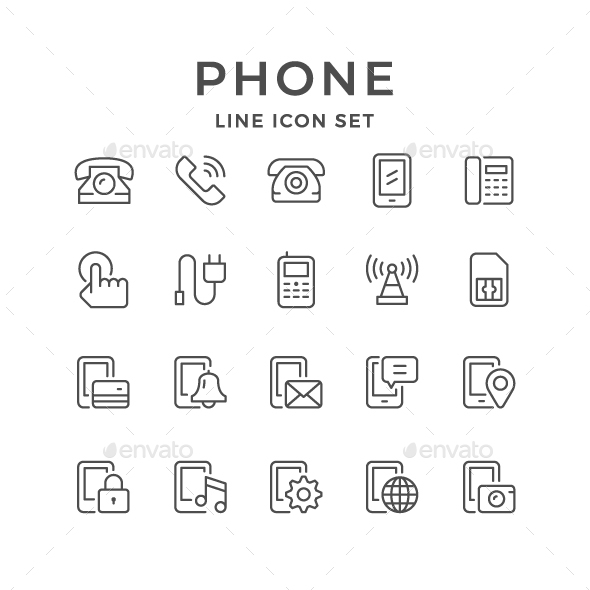 Set Line Icons of Phone - Man-made objects Objects