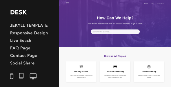 Desk - Responsive Knowledge Base & FAQ Jekyll Theme - Jekyll Static Site Generators