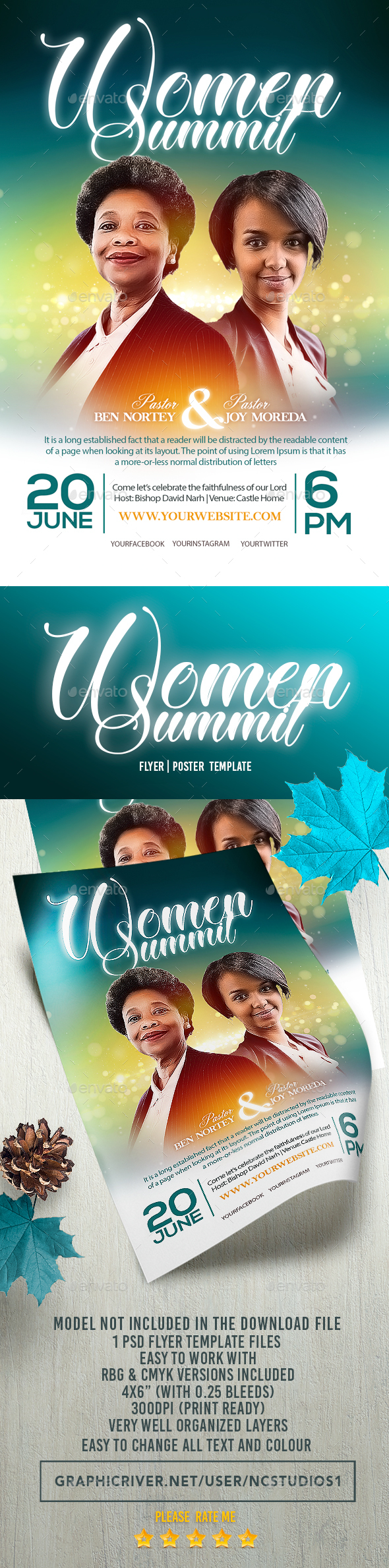 Women Summit Flyer Template - Flyers Print Templates