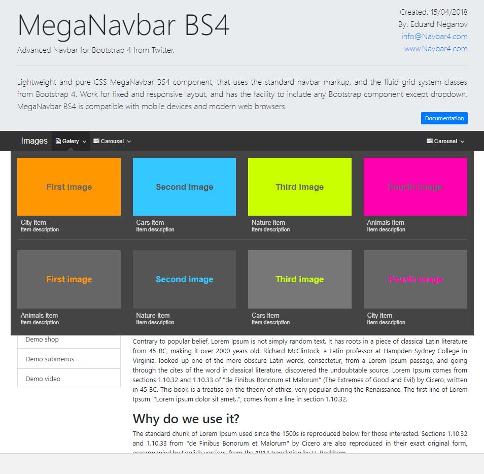 MegaNavbar BS4  (v 1 0 2) Advanced Mega Menu (navbar) for Bootstrap 4 0+