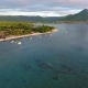 Aerial Flying Over Hurst with Boats Beside Resort Area at Flic-en-Flac Town, Mauritius Island - VideoHive Item for Sale