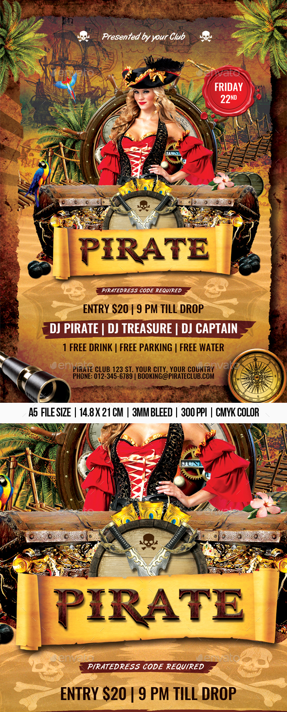 Pirate Flyer - Clubs & Parties Events