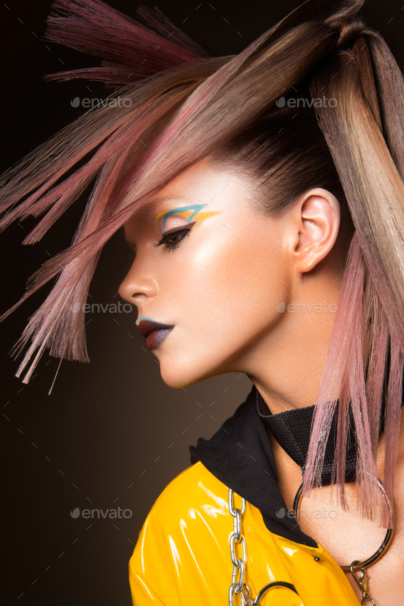Fashion model woman. Portrait of beautiful party girl with trendy make-up, haircut. - Stock Photo - Images
